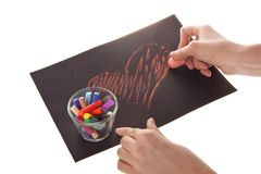 Heart on paper. Chalk and hand, heart on paper on white background, photo Stock Photo