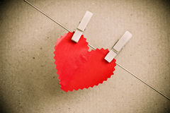 Heart paper with clothespin Stock Photo