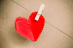 Heart paper with clothespin Royalty Free Stock Photography