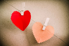 Heart paper with clothespin Royalty Free Stock Photo