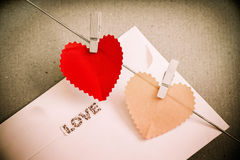 Heart paper with clothespin Stock Photos
