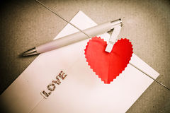 Heart paper with clothespin Royalty Free Stock Images