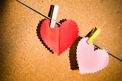 Heart paper with clothespin Stock Photography