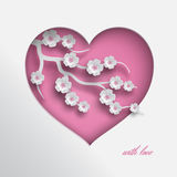 Heart with paper flowers. Pink heart vector illustration decorated branch of cherry flowers on white background for valentines day or women day greeting card stock illustration