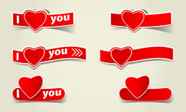 Heart paper label I love you logo like Stock Image