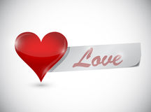 Heart and paper love sign. illustration design Stock Images