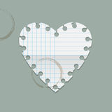 Heart paper note with coffee stains Royalty Free Stock Photography