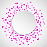 Valentines paper frame with gold glitter hearts. February 14th day. Vector confetti for valentine paper frame. Heart paper plate with red glitter. February 14th Royalty Free Stock Image