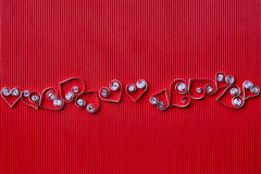 Heart of  paper quilling  for Valentine's day Stock Images