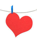 Heart from paper on rope isolated Royalty Free Stock Photography