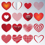 Heart Paper Sticker With Shadow Valentine`s day. vector illustra stock illustration