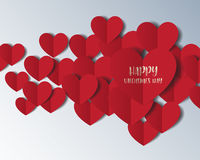 Heart Paper Sticker With Shadow Valentine`s day. vector illustra Royalty Free Stock Image