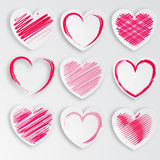 Heart paper stylized set Stock Photography