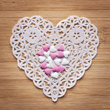 Heart paper with suger hearts Royalty Free Stock Photography
