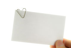 Heart paperclip reminder note Stock Photo
