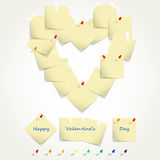 Heart from papers. Set of post it notes in the form of heart and multicolored pins, illustration Stock Photo