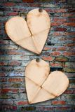 Heart papers on the break wall Stock Photography