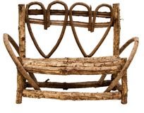 Heart Park Bench. A beautiful wooden heart shaped style park bench lies here against a white background stock photos