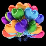 Heart party balloons colorful. love helium balloon bunch multicolored. Birthday, wedding, marriage decoration romantic. holiday fun symbol. 3d illustration Royalty Free Stock Image