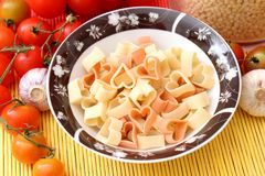 Heart pasta. Some colourful italian heart pasta Stock Images