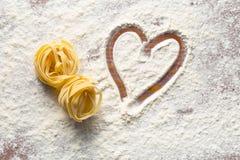 Heart and pasta Stock Photos