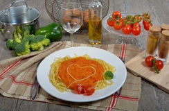 Heart with pasta Stock Photo