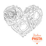 The  heart of pasta on a white background Stock Image