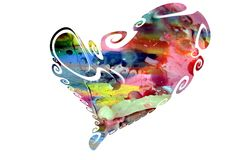Heart in pastel watercolor hues and wax Royalty Free Stock Photo