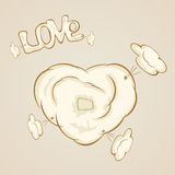 Heart. Patches on the heart on a beige background, illustration Royalty Free Stock Photo