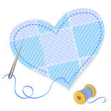 Heart patchwork and thread Stock Image