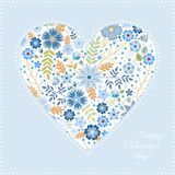 Heart pattern with beautiful blue flowers. Unusual card for Valentine day. Vector illustration.  royalty free illustration