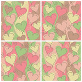 Heart Pattern, Birthday. A seamless, repeating hearts and spirals pattern in four birthday colorways Royalty Free Stock Images