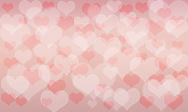 Heart pattern bokeh background; Pink and Red color. Valentines day stock illustration