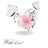 The heart of the pattern with butterflies. On a white background royalty free illustration