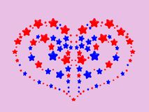 A heart pattern created from red and blue stars Royalty Free Stock Photography