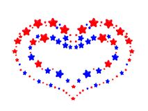 A heart pattern created from red and blue stars Royalty Free Stock Photo