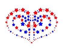 Heart pattern created from red and blue stars Royalty Free Stock Images