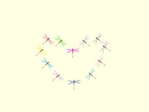 Heart pattern dragonflies symbol love nature Royalty Free Stock Photo