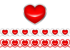 Heart & pattern from hearts. Pattern from hearts. The  drawing Stock Photo