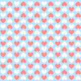 Heart pattern. A lot of white and pink hearts on blue paper with yellow line Stock Image