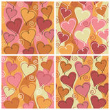 Heart Pattern_Party. A seamless, repeating hearts and spirals pattern in four party colorways Royalty Free Stock Photos
