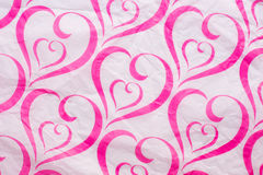 Heart pattern pink crumpled Paper Royalty Free Stock Photography