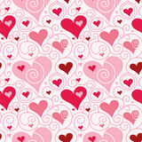 Heart pattern. Seamless pattern with heart shapes and scroll lines vector illustration Royalty Free Stock Images