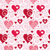 Heart pattern. Seamless pattern with heart shapes and scroll lines vector illustration Royalty Free Stock Photography