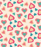 Heart pattern. Seamless pattern with heart shapes and scroll lines vector illustration Stock Image