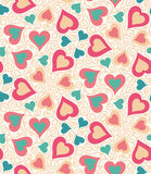 Heart pattern. Seamless pattern with heart shapes and scroll lines vector illustration Royalty Free Stock Photos