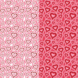 Heart pattern. Seamless pattern with heart shapes and scroll lines vector illustration Stock Photos