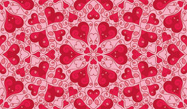 Heart pattern. Seamless pattern with heart shapes and scroll lines vector illustration Stock Photography