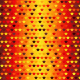 Heart pattern. Seamless vector. Glowing red, yellow background Royalty Free Stock Photos