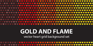 Heart pattern set Gold and Flame Stock Images